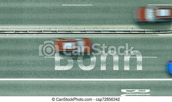 Aerial top-down view of the road. Cars reveal Bonn text. Travel to Germany 3D rendering - csp72856342