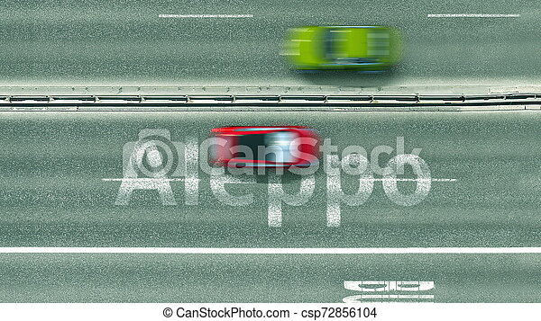 Aerial top-down view of the road. Cars reveal Aleppo text. Travel to Syria 3D rendering - csp72856104