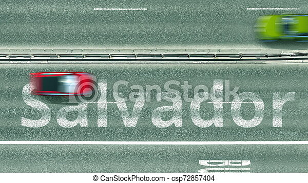 Aerial top-down view of the road. Cars reveal Salvador text. Travel to Brazil 3D rendering - csp72857404