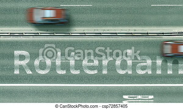 Aerial top-down view of the road. Cars reveal Rotterdam text. Travel to Netherlands 3D rendering - csp72857405