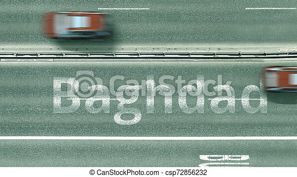 Aerial top-down view of the road. Cars reveal Baghdad text. Travel to Iraq 3D rendering - csp72856232
