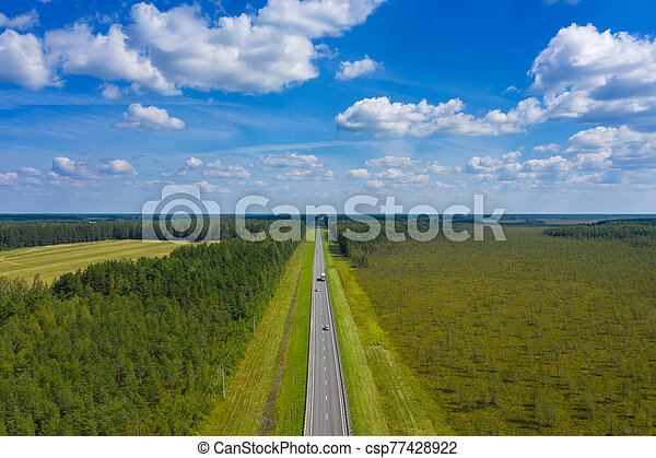 Aerial top view on country road - csp77428922