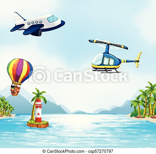Aerial Transportation Over the Ocean - csp57270797