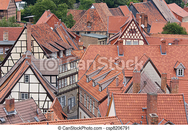 Aerial view at the German medieval city Quedlinburg - csp8206791