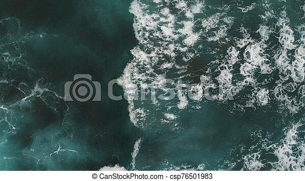 Aerial view, camera over turquoise ocean, Atlantic, Tenerife - csp76501983