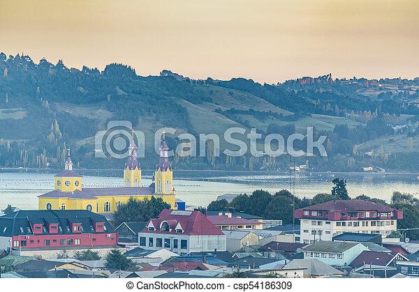 Aerial View Castro City, Chiloe Island, Chile - csp54186309