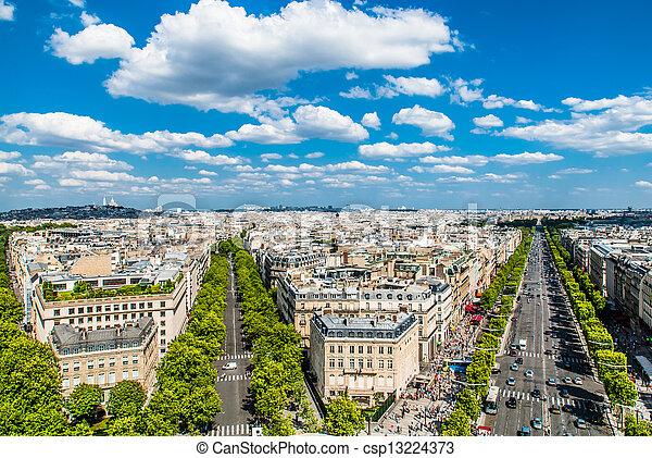 aerial view champs elysees paris cityscape France - csp13224373