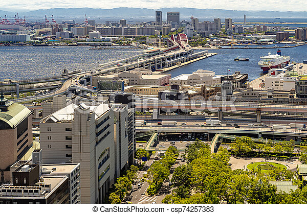Aerial view Kobe Japan - csp74257383