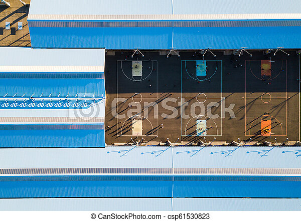 Aerial view of a basketball court - csp61530823