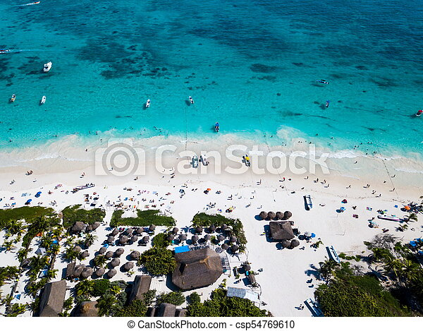 Aerial view of a beach in Tulum Mexico - csp54769610