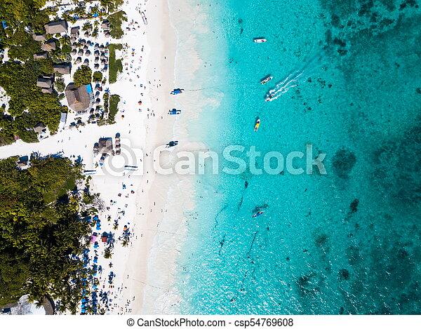 Aerial view of a beach in Tulum Mexico - csp54769608