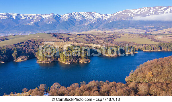 Aerial view of a beautiful dam in Bulgaria. - csp77487013