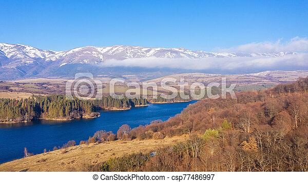 Aerial view of a beautiful dam in Bulgaria. - csp77486997