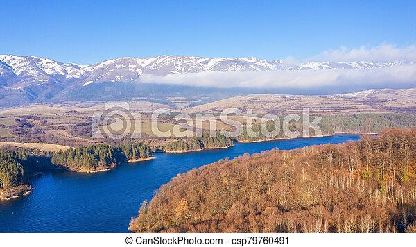 Aerial view of a beautiful dam in Bulgaria. - csp79760491