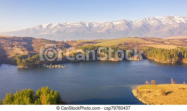 Aerial view of a beautiful dam in Bulgaria. - csp79760437