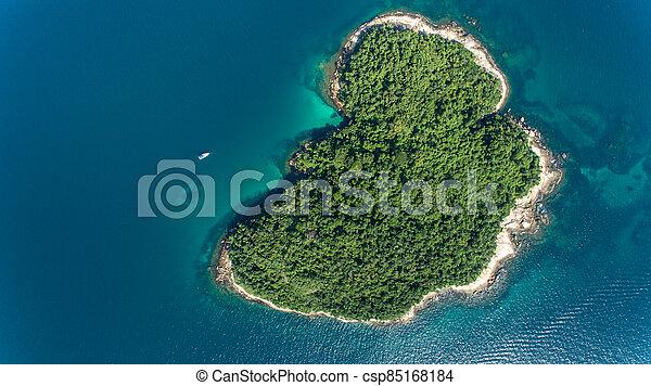 aerial view of a caribbean island - csp85168184