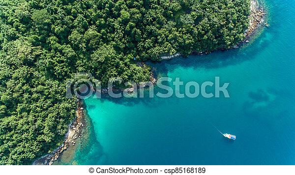 aerial view of a caribbean island - csp85168189