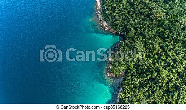 aerial view of a caribbean island - csp85168225