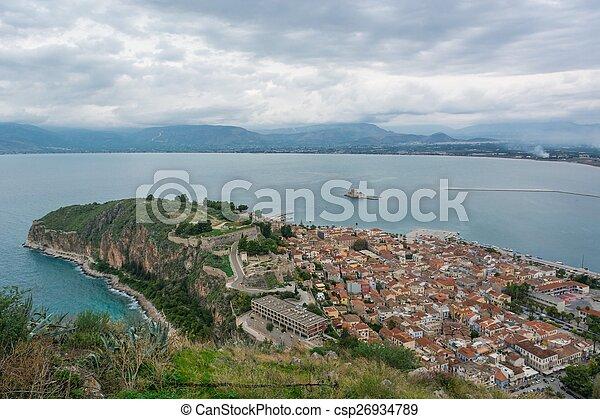 Aerial view of a coastal town. - csp26934789