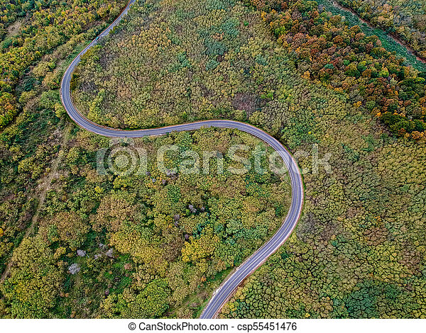 Aerial view of a curly road - csp55451476