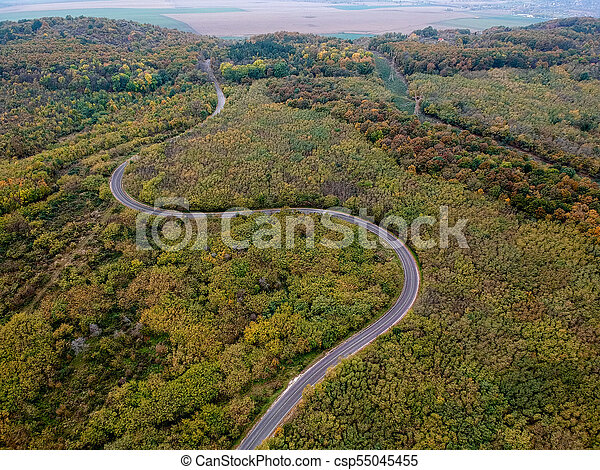 Aerial view of a curly road - csp55045455