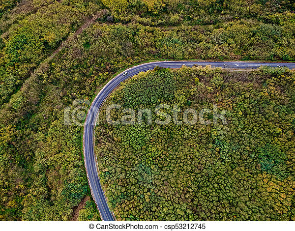 Aerial view of a curly road - csp53212745