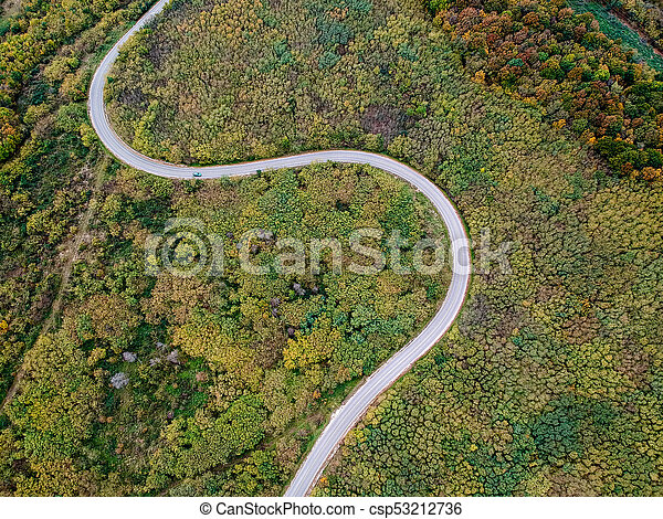 Aerial view of a curly road - csp53212736