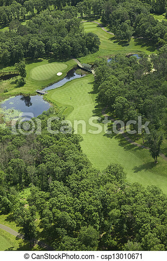 Aerial view of a golf course - csp13010671
