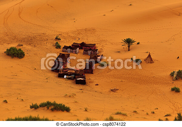 Aerial view of a group of Bedouin tents in Sahara Desert Morocco - csp8074122