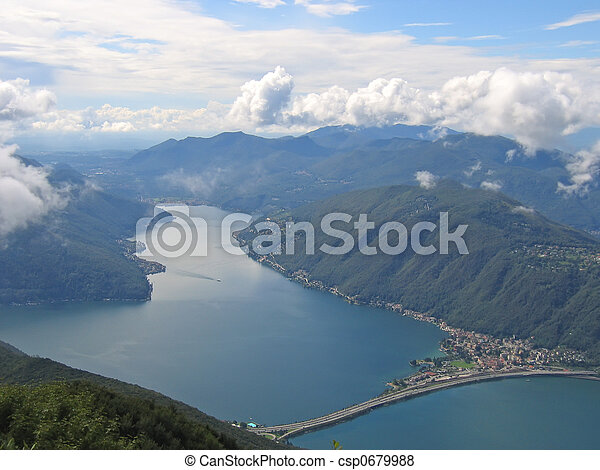 Aerial view of a lake between the small Alps mountains, Come lake, Italia - csp0679988