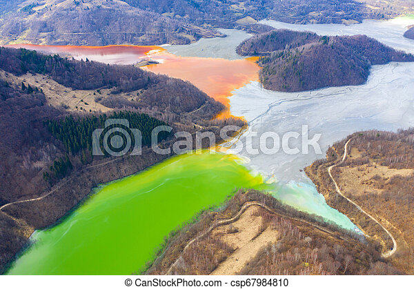 Aerial view of a lake filled with chemical waste water - csp67984810