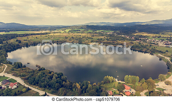 Aerial view of a lake. - csp51079706