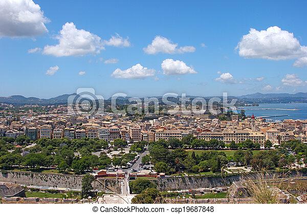 Aerial view of a mediterranean town - csp19687848