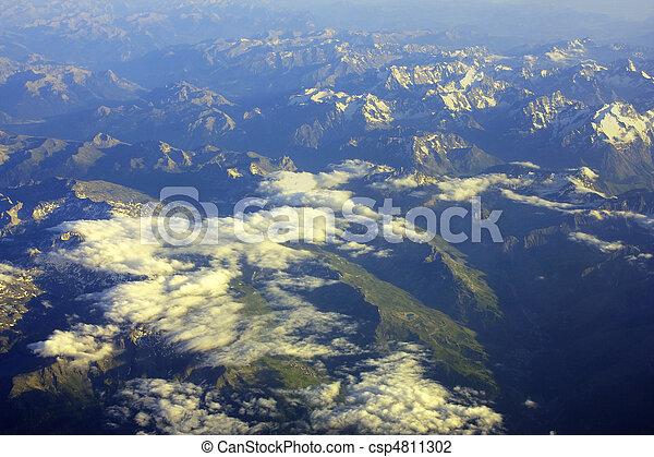 Aerial view of a mountain range - csp4811302