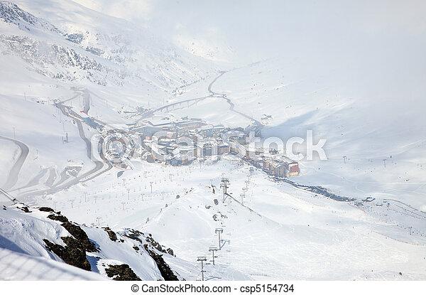 Aerial view of a mountain range - csp5154734