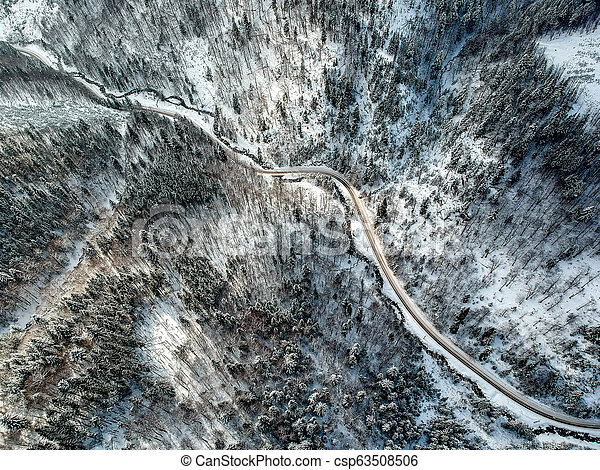 Aerial view of a road in winter - csp63508506