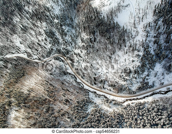 Aerial view of a road in winter - csp54656231