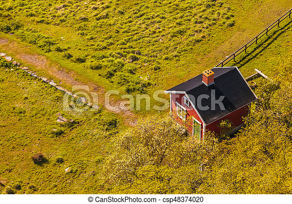 Aerial view of a small Swedish farm house - csp48374020