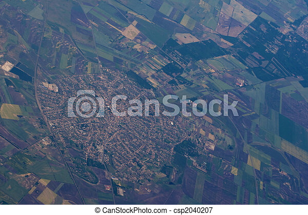 Aerial view of a town - csp2040207