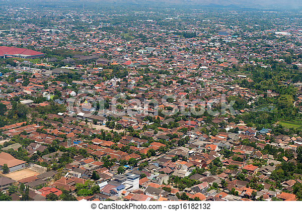 Aerial view of a town - csp16182132