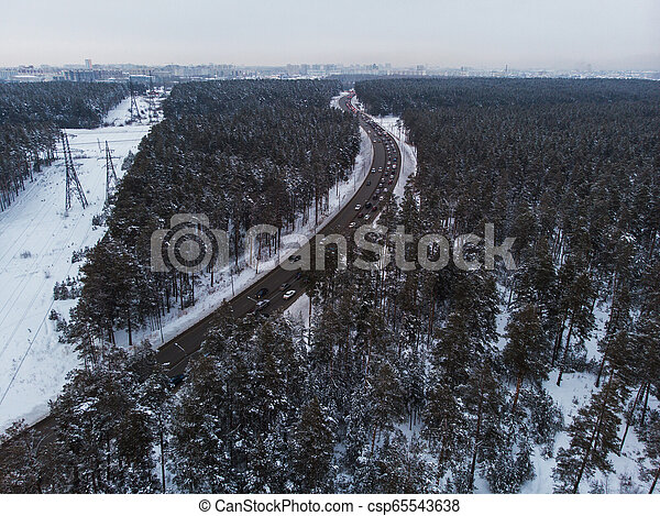 Aerial view of a winter road - csp65543638