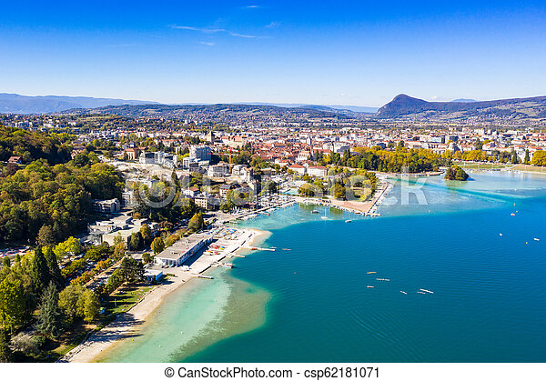 Aerial view of Annecy lake waterfront in France - csp62181071