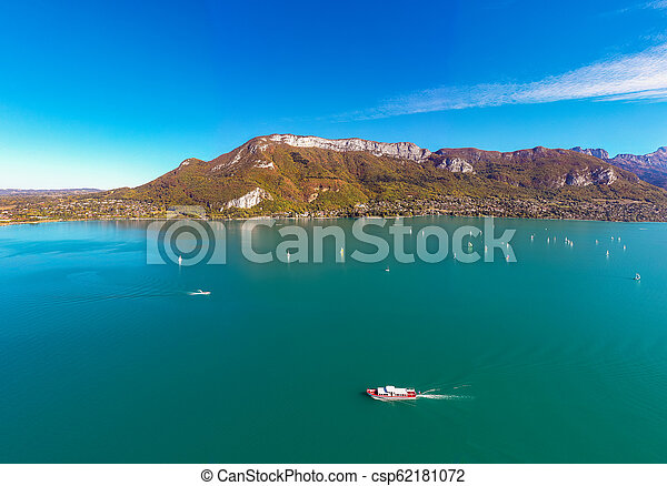 Aerial view of Annecy lake waterfront in France - csp62181072