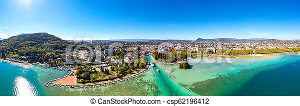 Aerial view of Annecy lake waterfront in France - csp62196412