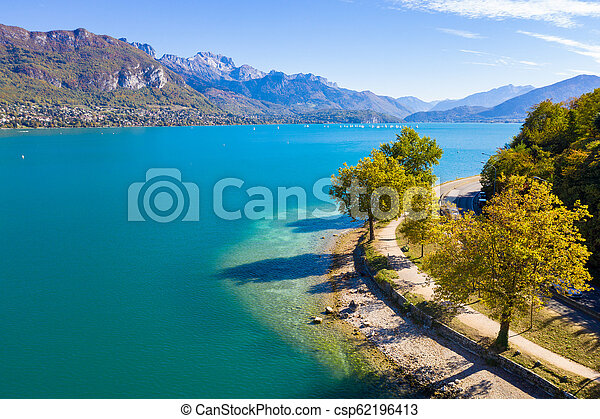 Aerial view of Annecy lake waterfront in France - csp62196413