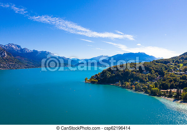 Aerial view of Annecy lake waterfront in France - csp62196414