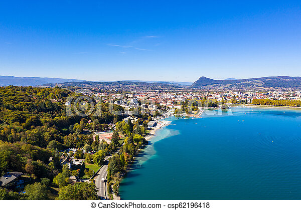 Aerial view of Annecy lake waterfront in France - csp62196418