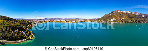Aerial view of Annecy lake waterfront in France - csp62196419