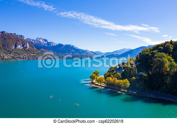 Aerial view of Annecy lake waterfront in France - csp62202618