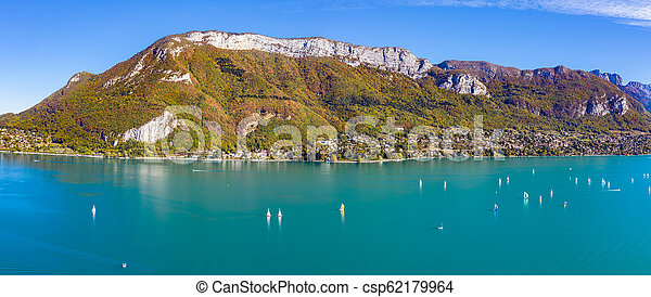 Aerial view of Annecy lake waterfront in France - csp62179964